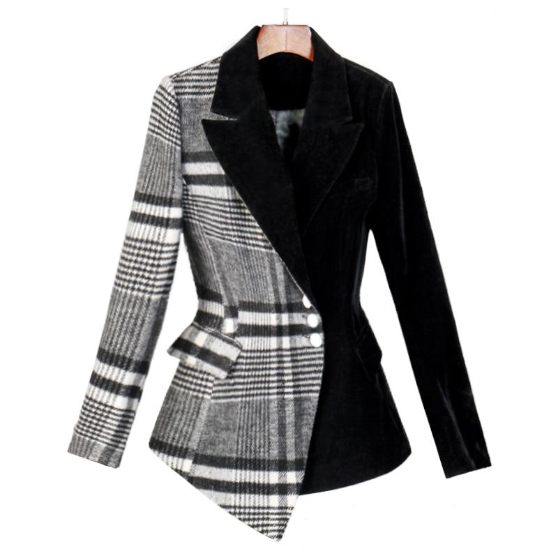 Velour Patchwork Wool Plaid Blazer Coat Female Long Sleeve Asymmetrical Women`s Suits 2019 Spring Fashion Clothes MA19 (8)