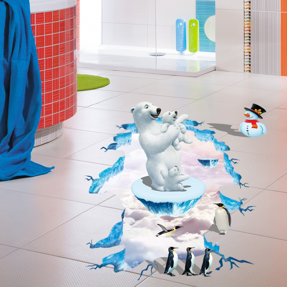 3d polar bear penguin floor stickers christmas stickers snowman wall stickers for kids rooms. Black Bedroom Furniture Sets. Home Design Ideas