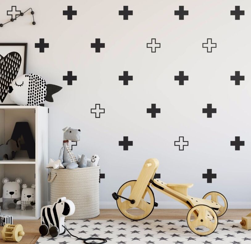 modern wall stickers removable plus sign wall decals geometric home