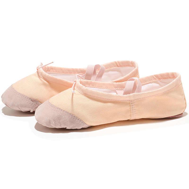 USHINE ヨガジムフラットスリッパ白ピンク白黒キャンバスバレエダンス女の子の子供のための女性の先生