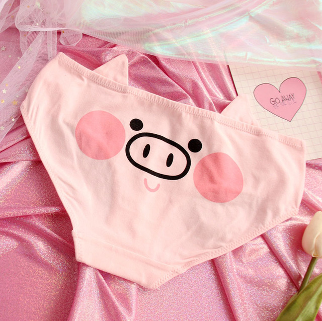 Animation Cute Pink Pig Cotton Underwear