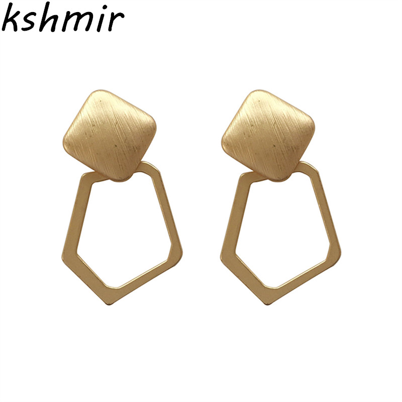 Kshmir Metal is simple temperament personality atmosphere exaggerated irregular fashiona Matte silver big earrings in Stud Earrings from Jewelry Accessories