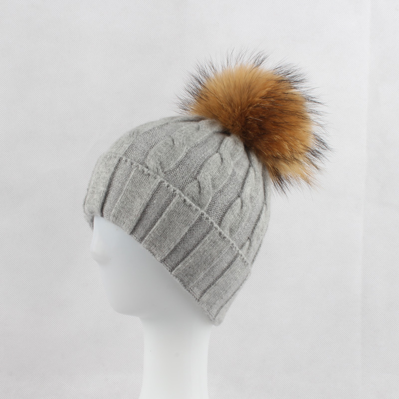 Women Wool Blends Skullies Beanies Hats 15CM Raccoon Fur Pom Pom Lady Winter Genuine Fur Caps Headgear Ear Protector VF4019 skullies