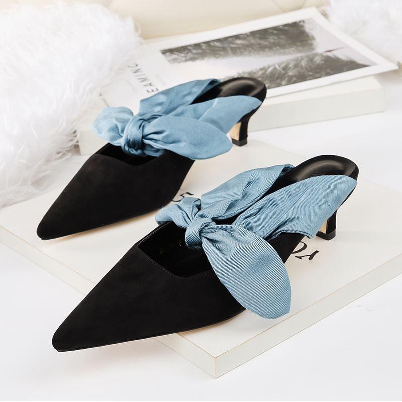 EOEODOIT Women Mules Shoes 2018 Autumn Med Kitten Heels Pointed Toe Big Bowtie Pumps Casual Fashion Slippers