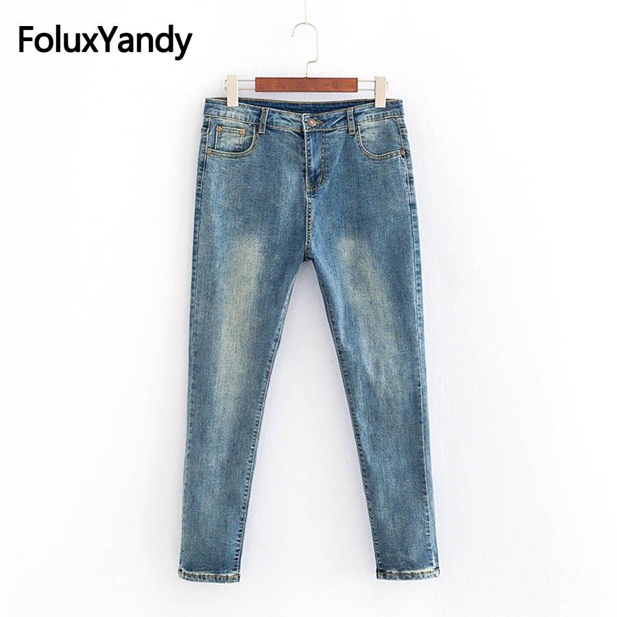 Vintage   Jeans   Women Slim Pencil Pants Denim Stretched Skinny   Jeans   Classic Plus Size 3XL 4XL Blue KKFY2608