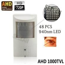 720 P Mini cámara AHD Visión Nocturna 48 unids IR 940nm 3.7mm lente pinhole PIR Cámara de 1.0 megapíxeles AHD CCTV del agujero de alfiler mini cámara ahd