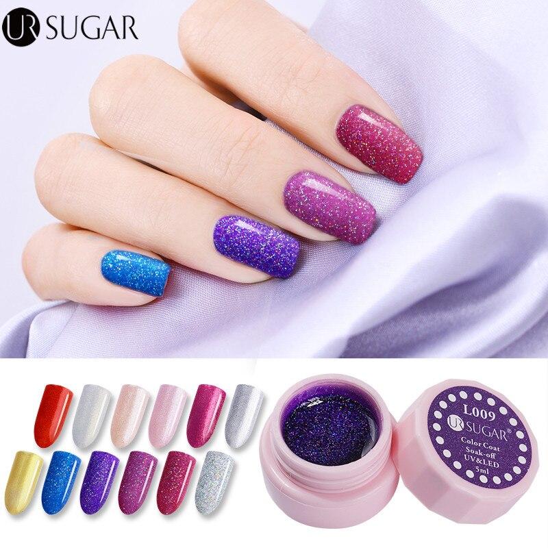 Hologram Gel Nail Polish: UR SUGAR 5ml Holographic Glitter Nail Gel Polish UV LED