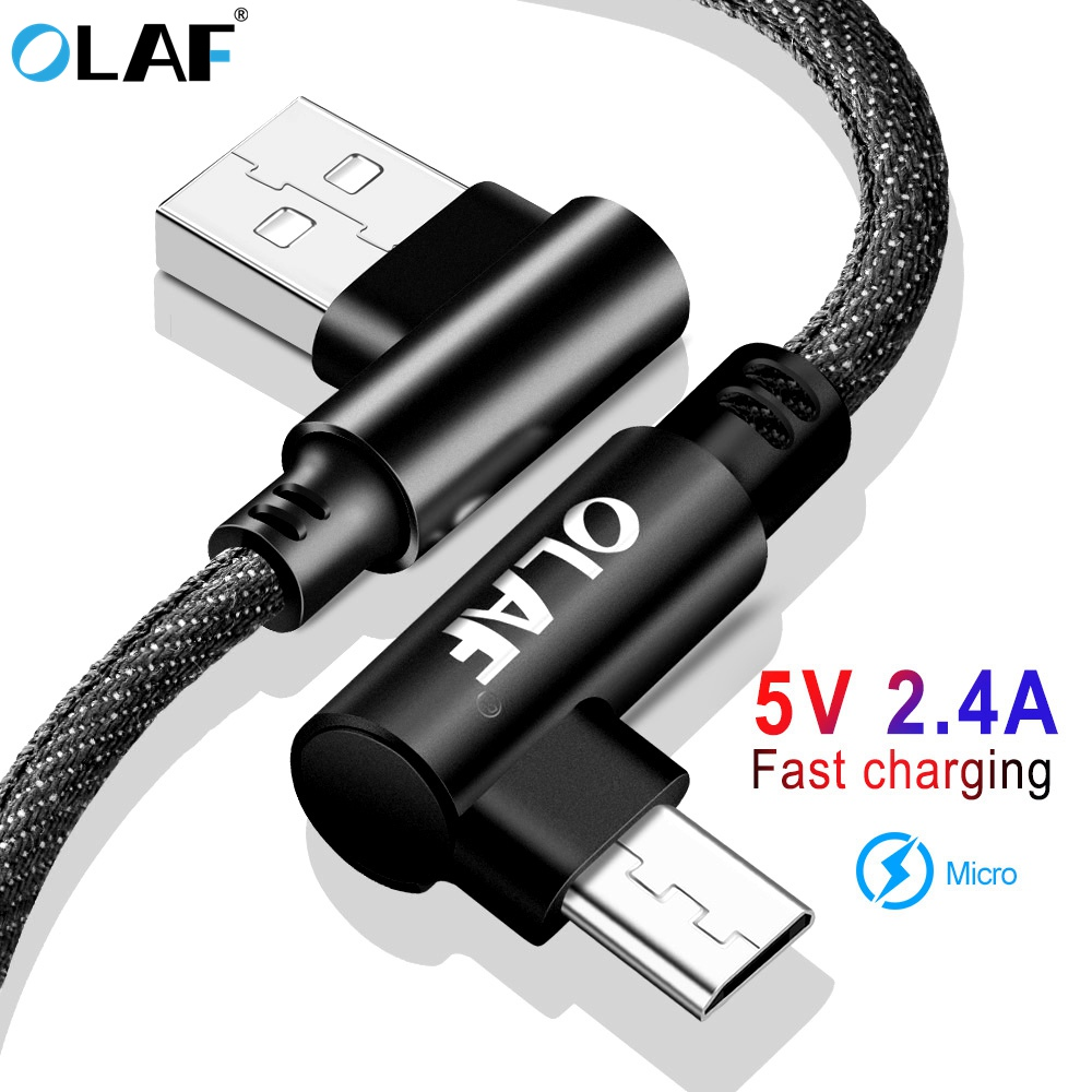 OLAF 90 Degree Micro USB Cable 2 4A Fast Charging Data Sync Cord USB Charger Cable For Samsung Xiaomi Huawei Mobilie Phone Cable in Mobile Phone Cables from Cellphones Telecommunications