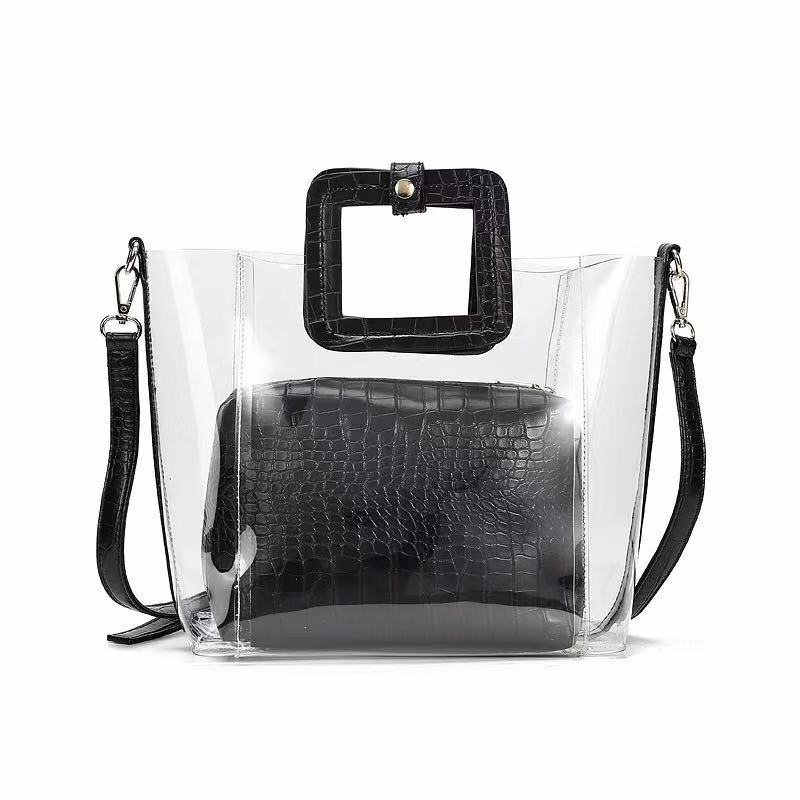 2019 New Summer PVC Transparent Lady Handbag and Purse Jelly Women's Beach Bag Crocodile Waterproof Brand Design Women Tote Bag