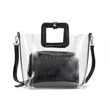 Женская прозрачная сумка желе из ПВХ, водонепроницаемая пляжная сумка тоут под крокодила, лето 2019