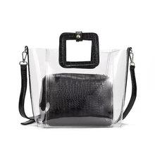 2019 New Summer PVC Transparent Lady Handbag and Purse Jelly Womens Beach Bag Crocodile Waterproof Brand Design Women Tote Bag