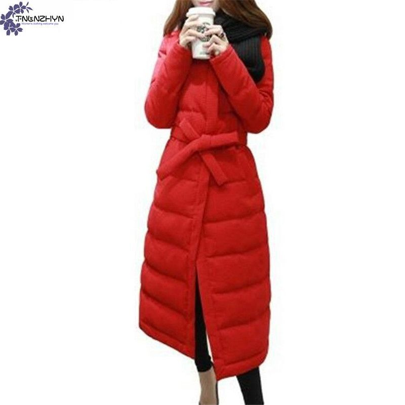 ФОТО TNLNZHYN Korea Style 2017 New Winter Elegant Women Coat Fashion Big Yards Long Coat Parka Thick Warm Winter Coat jacket AK321