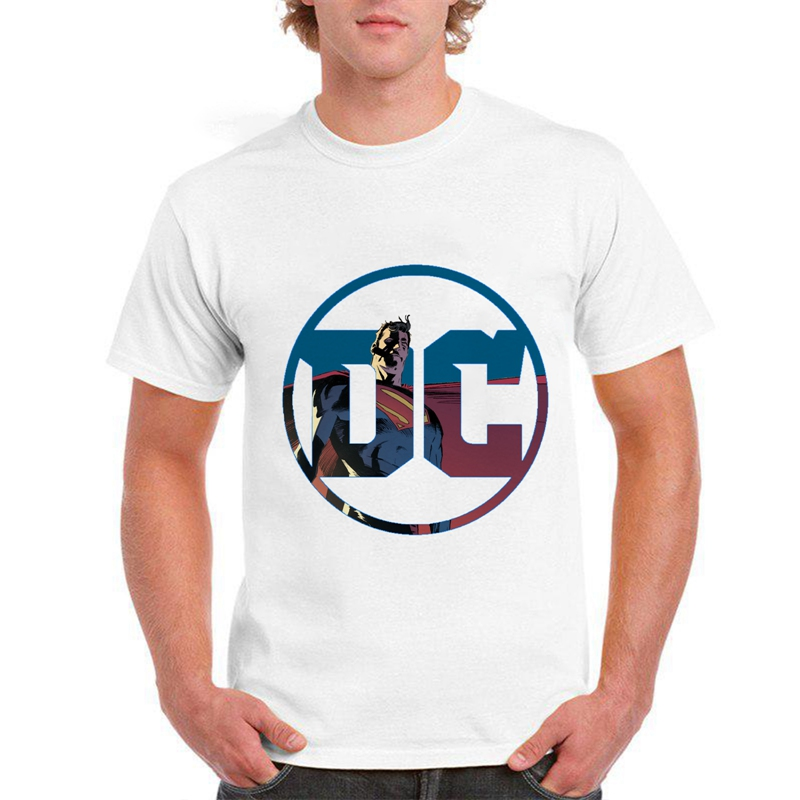 Summer Printing Justice League SupermanBatman Cool Cartoon Men 39 s Modal T Casual Harajuku Round Collar White Short Sleeve T shirt in T Shirts from Men 39 s Clothing