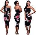 Womens Vintage Cotton Black Floral Print Strapless Mid-calf Sheath Dress Clubwear Clothes