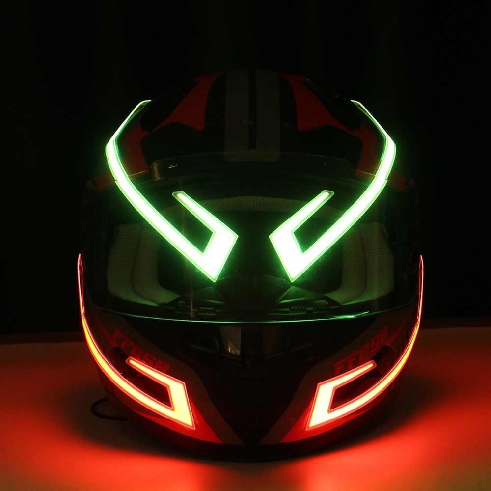 Bestlymood Universal Motocicleta Casco Luz Trasera Casco Pegatina Motorcross Motocicleta Casco Luz de Noche Tira Se?Al de Seguridad Luz de Advertencia