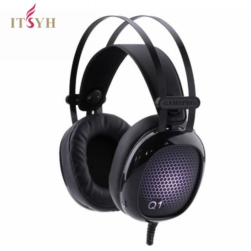 ITSYH Computer Big Earphone Headphone Gaming Headset Microphone PC Earphone Gamer Headset casque Gaming Headphone Wired LF01-255 each g8200 gaming headphone 7 1 surround usb vibration game headset headband earphone with mic led light for fone pc gamer ps4