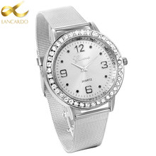 Lancardo New Luxury Crystal Men Watches Women Silver Watch Mesh Steel Strip Gold Horloges Mannen Dress Wristwatch Drop Shipping