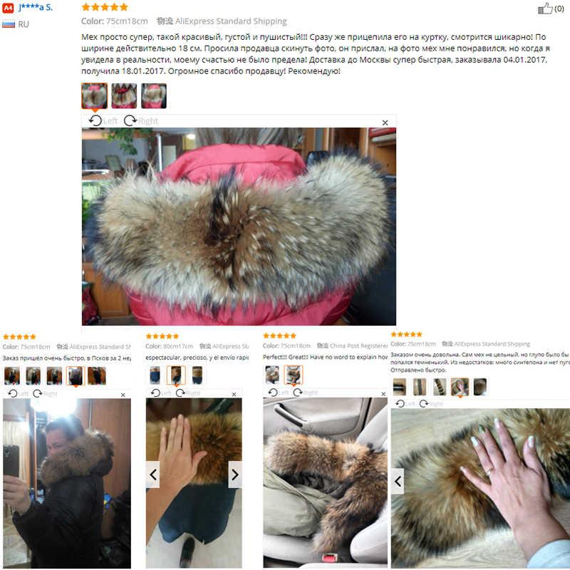 100% натуральная куртка с меховым воротником из натурального меха енота, женские шарфы, зимнее пальто, женская шапка, длинный теплый шарф из натурального меха, большой размер