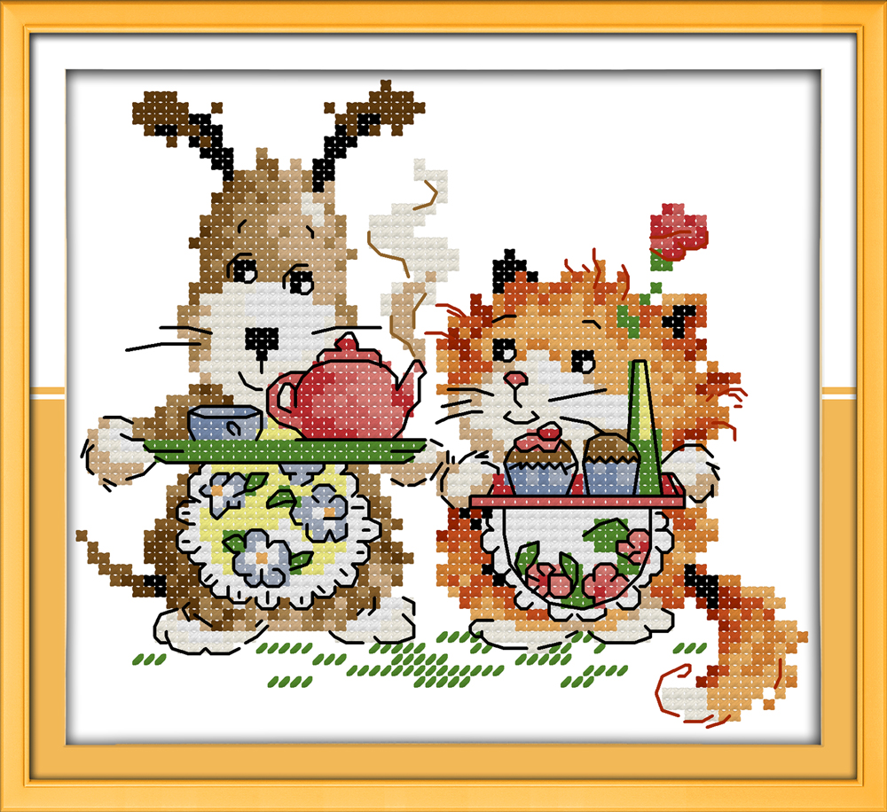 Cake Dog Cartoon Dessert Diy Painting Counted Print On Canvas Dmc Chinese Cross Stitch Kits 11ct 14ct Needlework Sets Embroidery Yet Not Vulgar Package