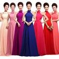 2017 nueva moda tallas grandes largo de color púrpura Larga de La Gasa vestido de festa de casamento vestidos de dama de Honor