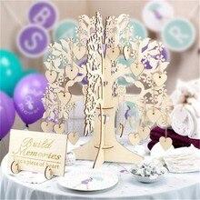 3D деревянная Свадебная Гостевая книга подвеска в форме сердца подвесное дерево Гостевая книга для украшения свадебной вечеринки