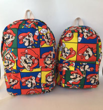 "2018 Promotion Hot Sale Mochila Feminina Super Mario Canvas Backpack Anime Zipper 12"" 15"" Shoulder Bag Teenage School Gift Bags"