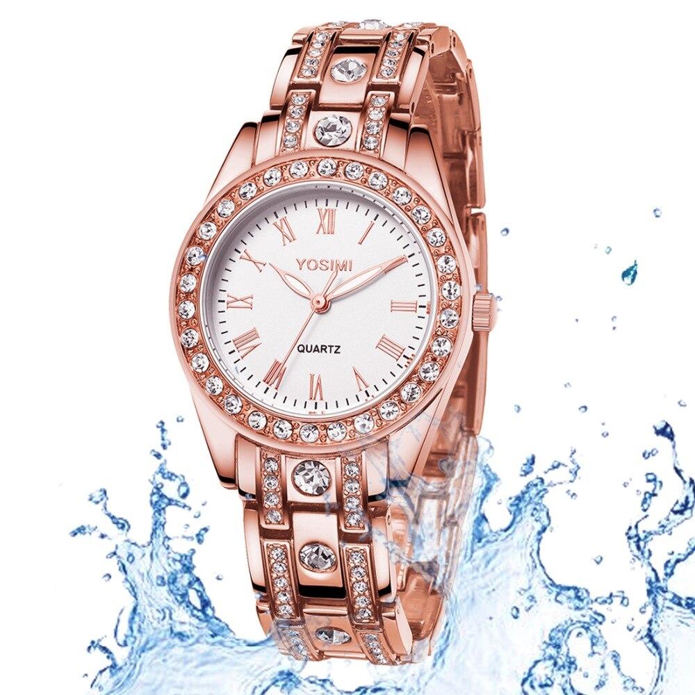 Montre femme diamant or Rose montre pour femme Quartz acier inoxydable luxe cadeau d'anniversaire élégante femme romantique pour les femmes