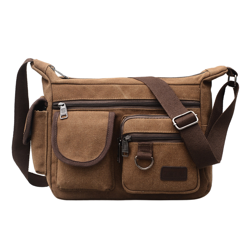 Canvas Hobo Style Travel Messenger Bag - Multi Pocket 1