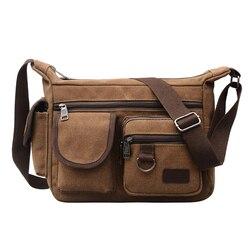 Preppy Style Shoulder Bag 100% Cotton Canvas Messenger Bag Contracted joker Leisure Or Travel Bag for Men More Zippers Hobos