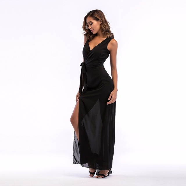PGSD 2019 New Simple Fashion Pure color Women Clothes V-neck side split sling Frenulum Bow black chiffon sexy long dress female