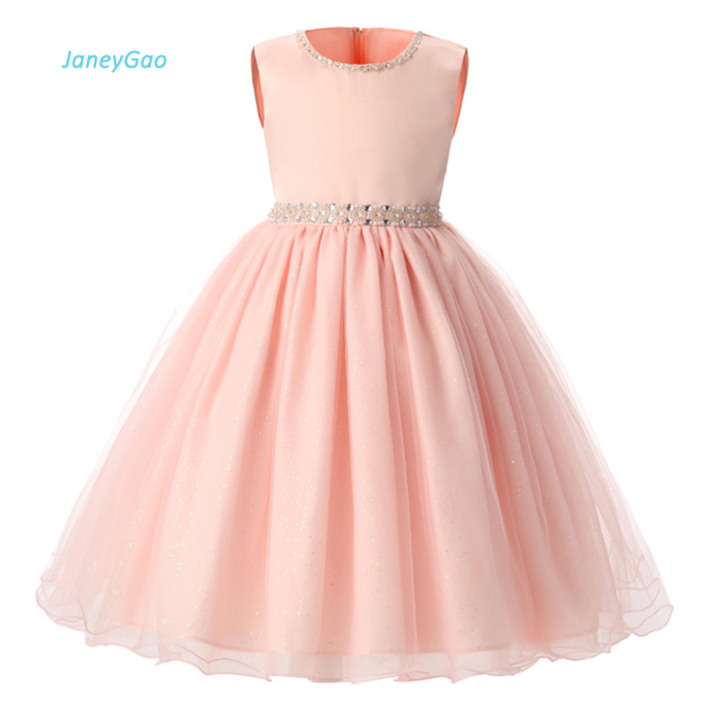 JaneyGao Flower Girl Dresses For Wedding Party Pink 2019 Summer Girls Dresses Formal Princess Pageant Beading Hot Sale In Stock