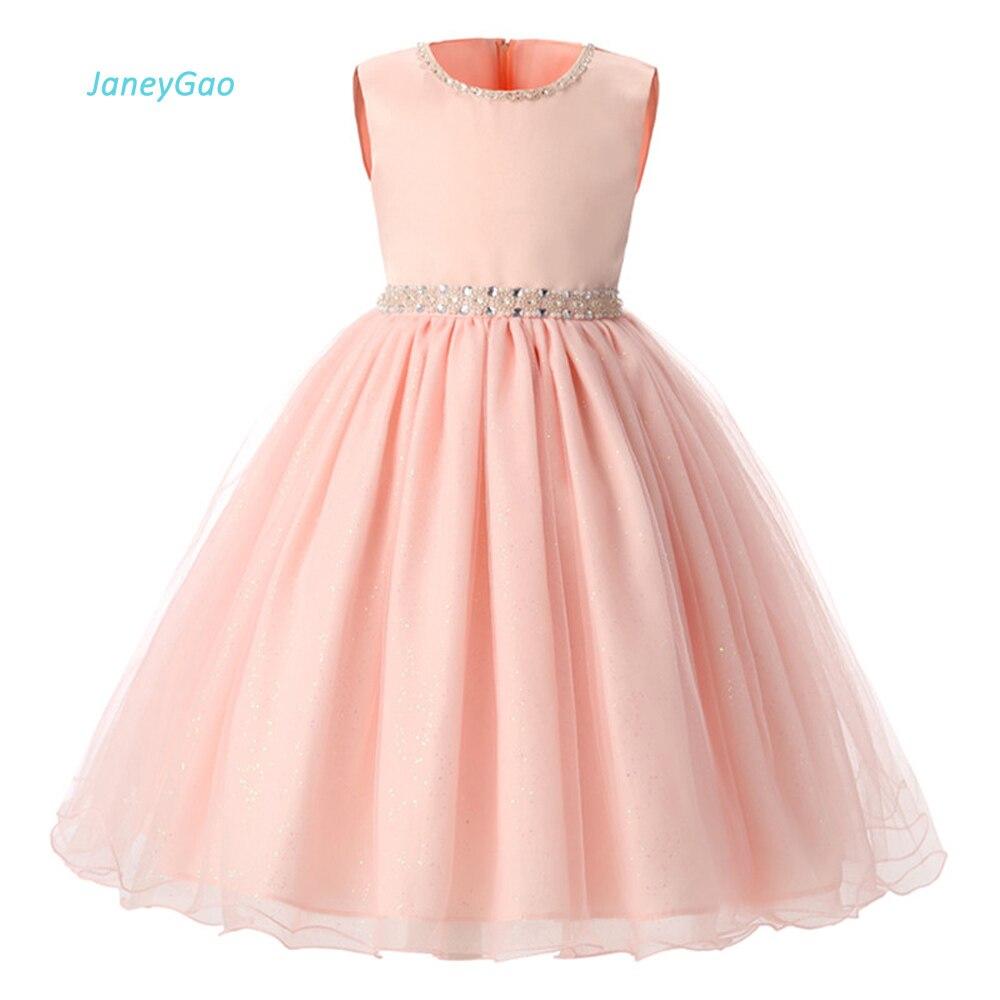 fbdd4536492a JaneyGao flor chica vestidos para boda fiesta Rosa 2019 niñas de verano  vestidos formales concurso princesa cordón Venta caliente en Stock