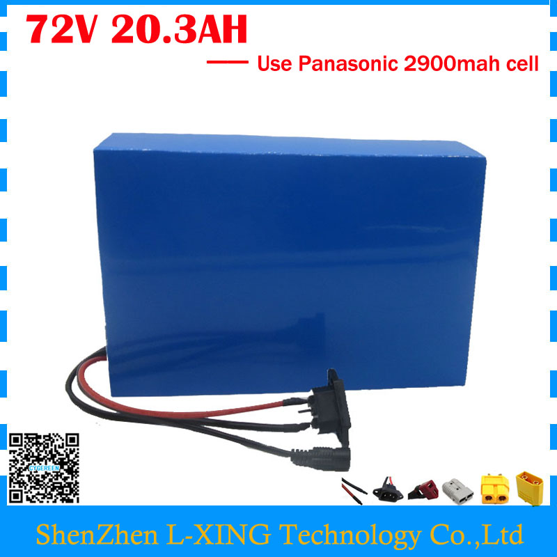 High quality 72V 20AH e-scooter battery 72V 20.3AH Electric lithium battery use Panasonic 2900mah cell 40A BMS Free customs tax free customs taxes super power 1000w 48v li ion battery pack with 30a bms 48v 15ah lithium battery pack for panasonic cell