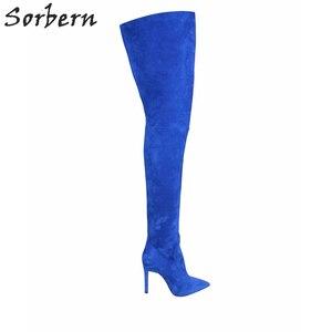Image 1 - Женские зимние сапоги выше колена, с острым носком, из искусственной замши