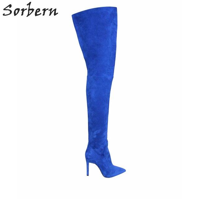 Женские зимние сапоги выше колена, с острым носком, из искусственной замши