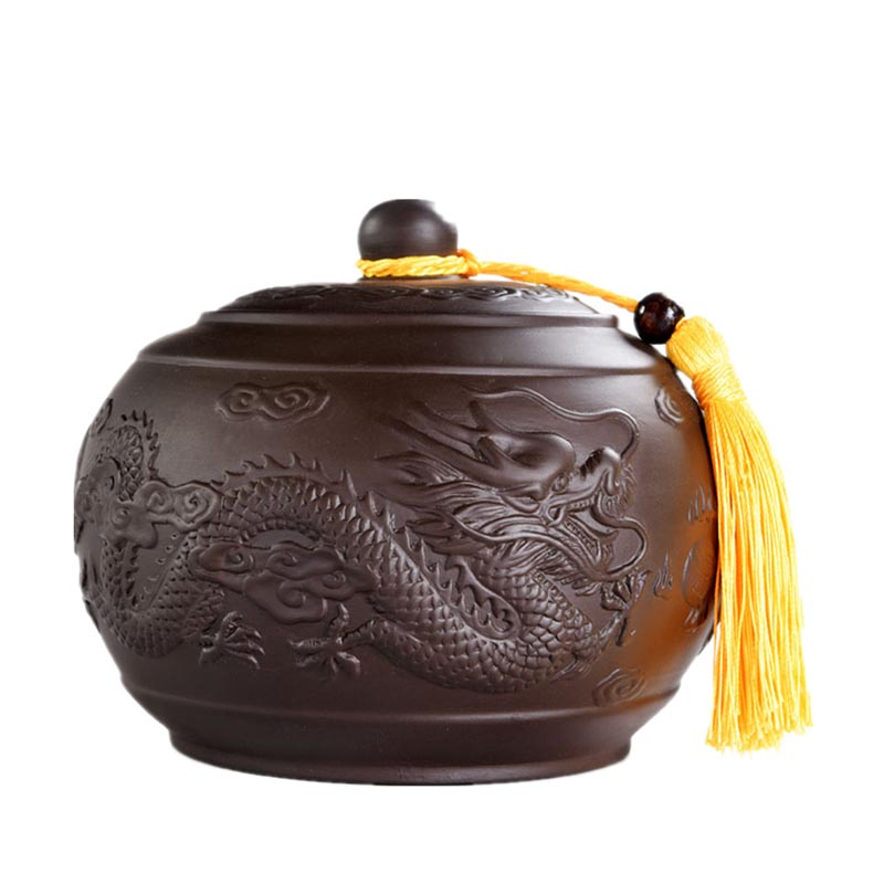 Yixing Purple Clay Dragon Tea Caddy Ceramic Tea Storage Jar Kung Fu Tea Set Accessories Spices Seasoning Seal Box Puer Container Bright Luster Home & Garden