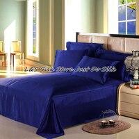 Full Size USA Standard Silk Flat Sheet 100 Mulberry Silk 16 5mm Royal Blue Free Shipping