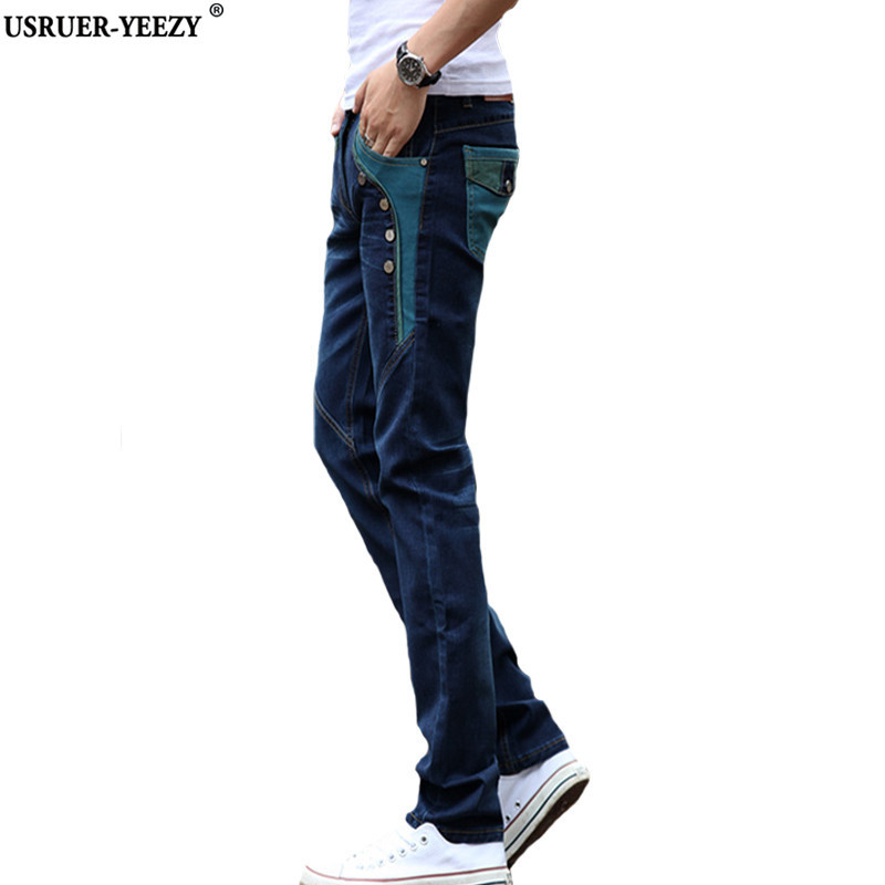 USRUER YEEZY Irregular Men s Jeans 2017 New Fashion Solid Color Stretch Skinny Jeans Tide Feet