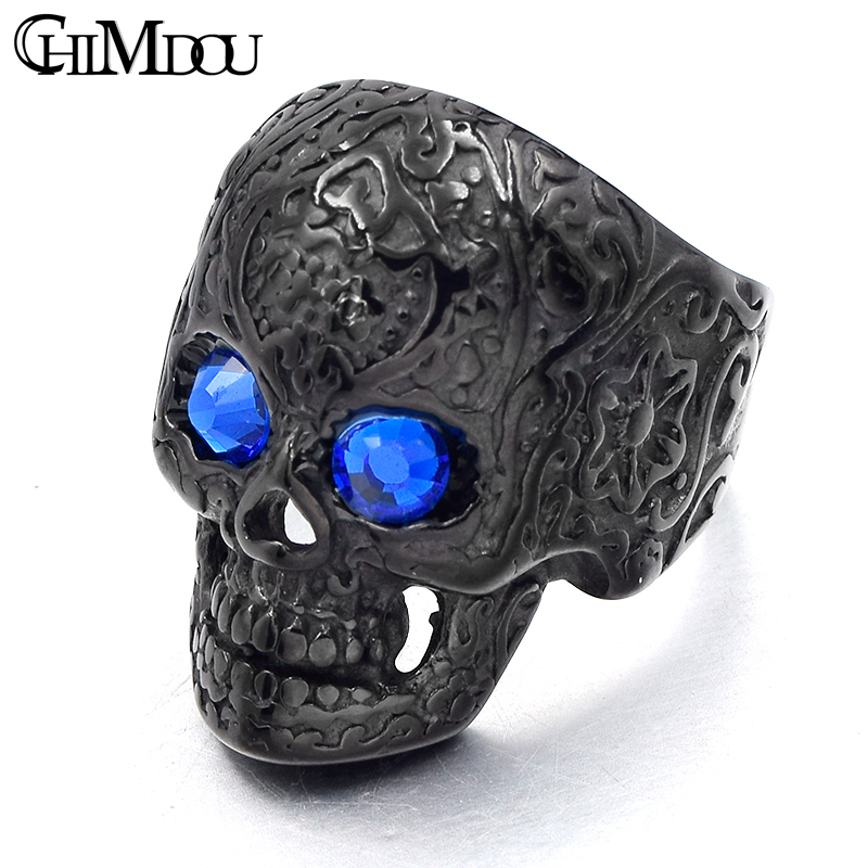 CHIMDOU flower tattoo blue eyes skull Men Ring Black stainless steel - Fashion Jewelry - Photo 1
