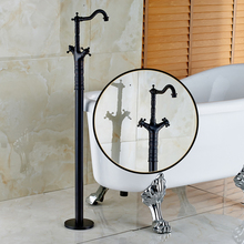 Oil Rubbed Black Floor Mounted Bathtub Faucet Double Handles Tub Mixer Faucet Bathroom Hot and Cold Taps
