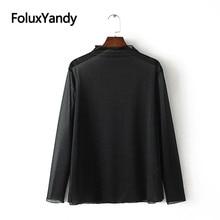 Transparent Mesh Tops Thin Pullovers Women Casual Plus Size Turtleneck Long Sleeve T-shirts KKFY3215