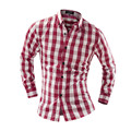 men shirt 16 Spring autumn New Plaid Fashion Dress Men Shirt Slim Fit Long Sleeve Plus Size 2XL Male Social Casual Shirts Camisa