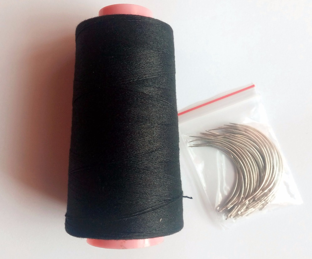 24 pcs C needle with gift 1 roll Black cotton thread weave thread hair weaving thread vogue black 1 pcs lot fluffy yaki straight 7a virgin brazilian hair weave for women page 1