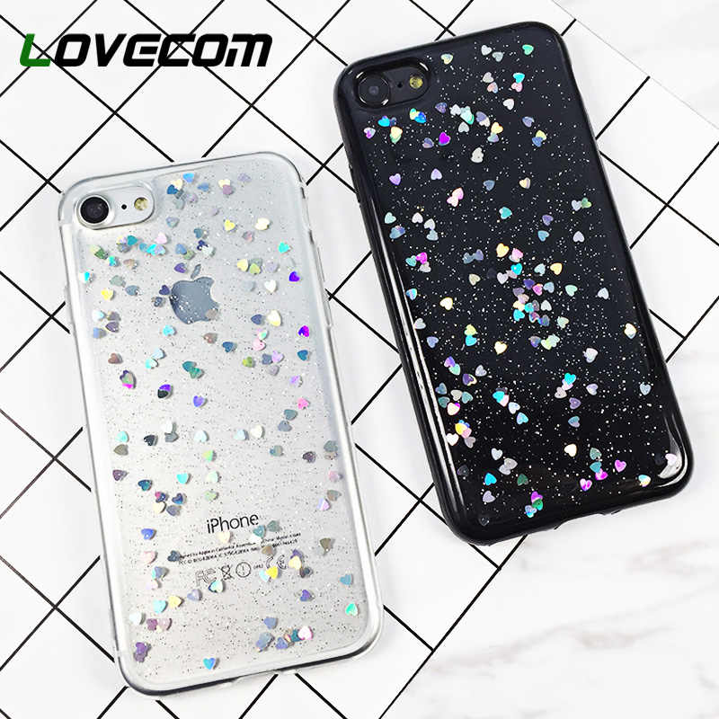 LOVECOM Case For iPhone XR XS Max X 5 5S SE 6 6S 7 8 Plus Glitter Powder Laser Love Heart Transparent Soft TPU Phone Back Cover