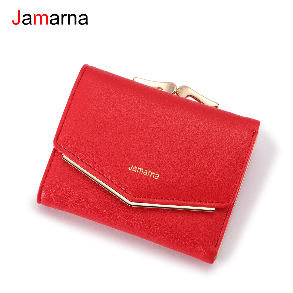 Jamarna Wallet Female PU Leather Women Wallets Hasp Coin Purse Wallet Female Vintage Fashion Women Wallet Small Card Holder Red