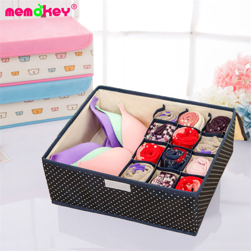 Memokey 13 Lattice Non-woven Bras Underwear Storage Box with Cover,Multifunction Clothing ,Socks Container B