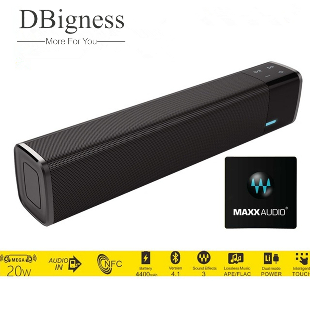 Dbigness 20W NFC Wireless Bluetooth Speaker Super Bass Stereo Altavoz Touch Soundbar Support TF Card AUX for Tablet Phone PC dbigness bluetooth speaker portable speaker wireless bass stereo subwoofer support tf aux boombox hd sound for phone samsung