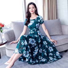 Green dresses woman party night floral print dress 2019 summer plus size for big women xxl xxxl chiffon clothing