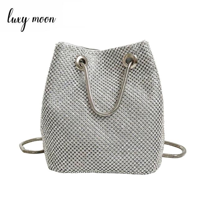Luxy Moon Full Diamond Women Shoulder Bag Totes Bling Evening Bag Party  Purse Wedding Metal Chain 06c0944ca8c0
