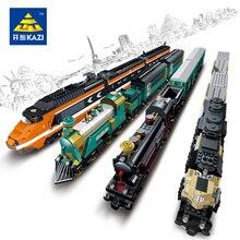 Kazi Model building kits compatible with lego city Transportation Trains 989 3D blocks Educational toys hobbies for children